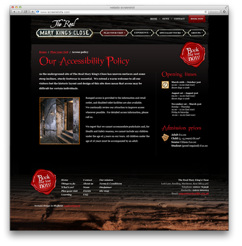 The Real Mary Kings Close website screenshot