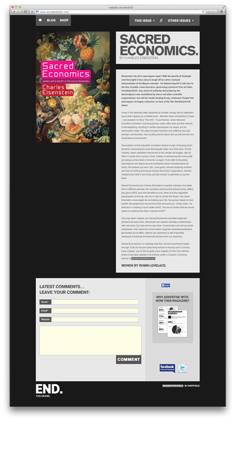 Now Then Magazine website screenshot