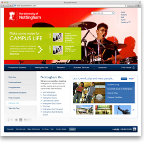 Nottingham University website screenshot