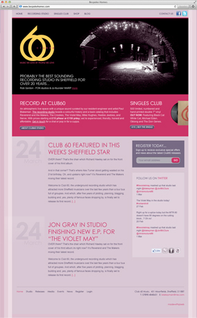 Club60 website screenshot