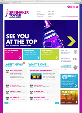 Portsmouth Spinnaker Tower website screenshot